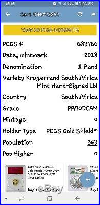 2018 SAfrica 1R 1Oz Silver Krugerrand Pcgs PF70 Tumi Tsehlo 1st 389coins struck