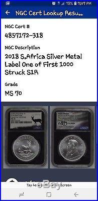 2018 S AFRICAN KRUGERRAND 1OZ SILVER medal label1st 1000 struckSigned by Tsehlo