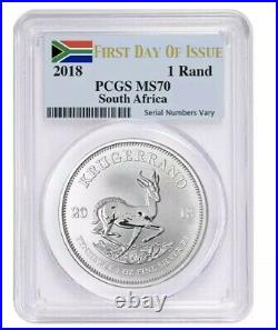 2018 South Africa 1 oz Silver Krugerrand PCGS MS 70 FDOI OBO