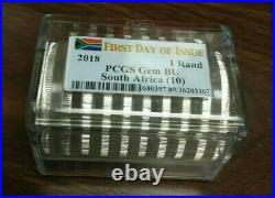 2018 South Africa Krugerrand 1 Oz Silver Coin X 10 PCGS Gem BU First Day Issue