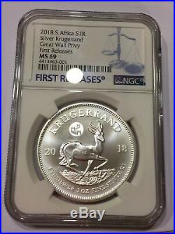 2018 South Africa Silver Krugerrand MS69 1 oz Great Wall Privy BICE Beijing Coin