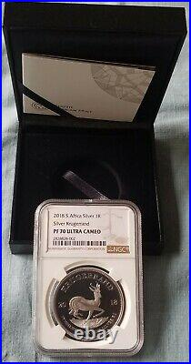 2018 South Africa Silver Proof Krugerrand NGC PF70 All Original Mint Packaging
