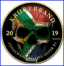 2019 1 Oz Silver South Africa FLAG SKULL KRUGERRAND Coin WITH 24K GOLD GILDED
