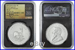 2019 1oz South Africa Silver Krugerrand Fdp Tumi Signed Ngc Ms70
