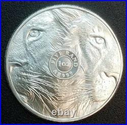 2019 Lion SOUTH AFRICA BIG FIVE 1 OZ. 999 SILVER COIN BU LION