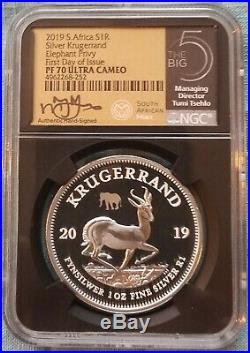 2019 Proof Krugerrand WithElephant Privy & Big5 Elephant 2 Coin Set PF70 FDOI