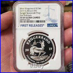 2019 SOUTH AFRICA SILVER PROOF KRUGERRAND RANGER spacecraft PRIVY ngc PF69 RAND