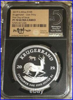 2019 South Africa 1oz Silver. 999 Krugerrand NGC PF70 UC FDI Big 5 LION Privy