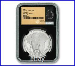 2019 South Africa 1oz Silver Big 5 Elephant NGC MS70 First Day of Issue