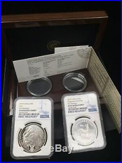 2019 South Africa 2-Coin Silver Krugerrand & Lion Proof Set IN HAND PF69 FR