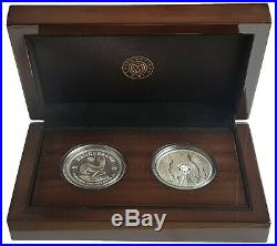 2019 South Africa 2 Coin Silver Proof 1oz Krugerrand Mintmark & Elephant Set