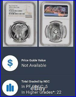 2019 South Africa BIG 5 Elephant (2) Coin Set NGC PF69 UC With OMP