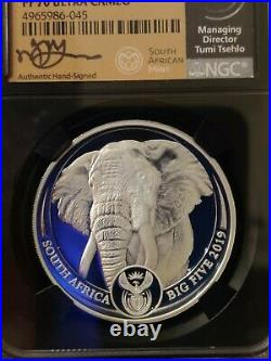 2019 South Africa Big 5 Elephant 1 oz Silver PF 70 UCAM Tumi Signed S5R Rand