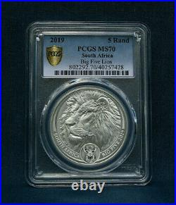 2019 South Africa Big Five Lion 5 Rand B. U. Pcgs Ms70 Gold Shield