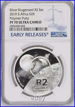 2019 South Africa SILVER PROOF R2 polymer putty ngc PF70 2 Rand Moon Landing ER