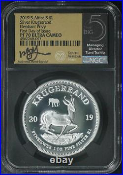 2019 South Africa Silver 1 Krugerrand Elephant Privy NGC PF-70 Ultra Cameo FDOI