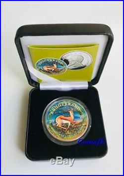 2020 1 oz. 999 South African Krugerrand Colorised Silver Coin Box & Coa