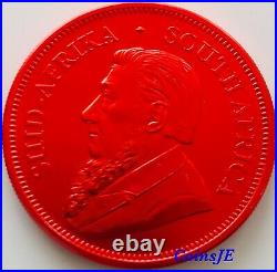 2020 1 oz. 999 South African Krugerrand Space Red Colorised Silver Coin