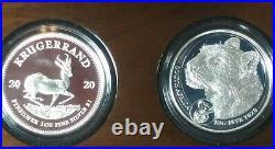 2020 BIG FIVE Leopard & Krugerrand Privy 2 coin silver proof set NewithBox/Coa