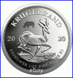 2020 BIG FIVE RHINO & KRUGERRAND With RHINO PRIVY 1 OZ SILVER PROOF 2 COIN SET