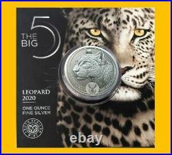 2020 LEOPARD BIG FIVE 1 OZ SILVER BU CARDED SOUTH AFRICA MINT SEALED Big 5