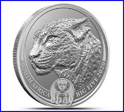 2020 Leopard Big Five 1 Oz 0.999 Silver Bu Coin Carded South Africa