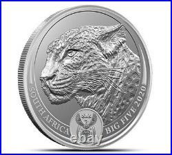2020 Leopard Big Five 1 Oz 0.999 Silver Bu Coin Carded South Africa Presale