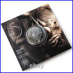 2020 Rhino South Africa Big Five 1 Oz Silver Coin Bu