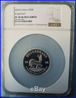2020 SA 2oz Silver Proof Krugerrand PF70 With ALL ORIGINAL MINT PACKAGING