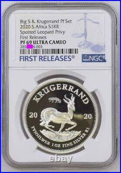 2020 SILVER KRUGERRAND LEOPARD PRIVY PF 69 ngc PROOF 1 rand south africa BIG 5