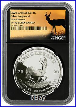2020 S. Africa 1oz Silver Krugerrand NGC PF70 FR Blk Springbok PRESALE SKU59908