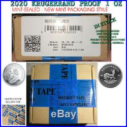 2020 Silver Krugerrand 1 ounce Proof MINT SEALED South Africa 1 RAND unopened oz