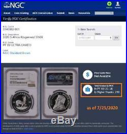 2020 South Africa 1 oz PROOF Silver Krugerrand NGC PF69UC with OGP & low COA#