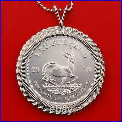 2020 South Africa 1 oz Silver Krugerrand Coin 925 Sterling Silver Necklace NEW