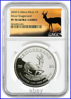 2020 South Africa 1 oz Silver Krugerrand Proof Coin NGC PF70 UC Springbok Label