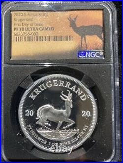 2020 South Africa 1 oz Silver Krugerrand Proof NGC PF70 FDI