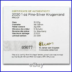 2020 South Africa 1 oz Silver Krugerrand Proof SKU#201846