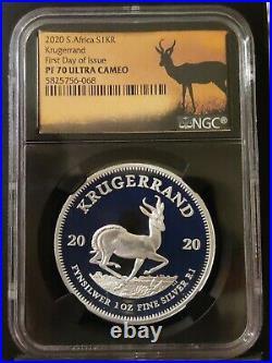 2020 South Africa 1oz Silver Krugerrand Proof NGC PF70 FDOI SPRINGBOK BLACK CORE