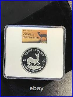 2020 South Africa 2oz Silver Krugerrand Proof NGC PF70 UC FDI Springbok