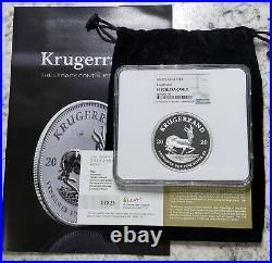 2020 South Africa 2oz Silver Krugerrand Proof NGC PF70 ULTRA CAMEO WITH CERTS