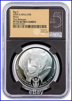 2020 South Africa Big 5 African Black Rhino 1 oz Silver NGC PF70 FR Black Core