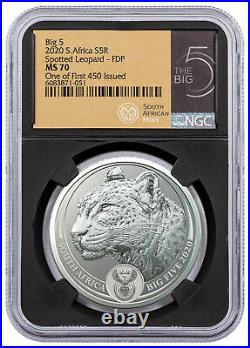 2020 South Africa Big 5 Spotted Leopard 1oz Silver R5 Coin NGC MS70 BC First 450