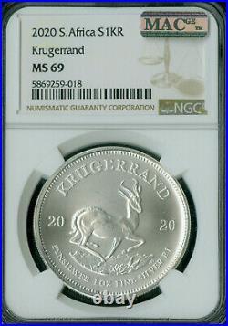 2020 South Africa Silver Krugerrand 1 Oz Ngc Ms-69 Mac Spotless Rare