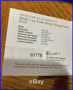 2020 South Africa Silver Proof Krugerrand PCGS PR70 DCAM First Strike, Pop 12