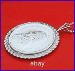 2021 South Africa 1 oz Silver Krugerrand Coin 925 Sterling Silver Necklace NEW