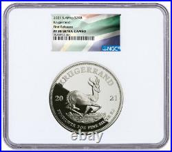 2021 South Africa 2 oz Silver Krugerrand Proof R2 Coin NGC PF70 UC FR PRESALE