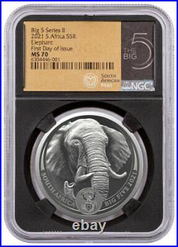 2021 South Africa Big 5 Series II Elephant 1 oz Silver R5 Coin NGC MS70 FDI BC