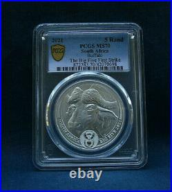 2021 South Africa Big Five Buffalo 5 Rand Pcgs Ms70 Gold Shield F. S. Last One