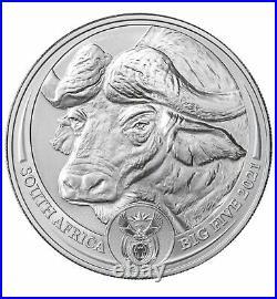 2021 South Africa Buffalo 1 oz Silver Big 5 GEM BU with Coin Card SHIP TODAY