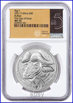 2021 South Africa Buffalo 1 oz Silver Big 5 NGC MS70 FDI WC Big 5 Label